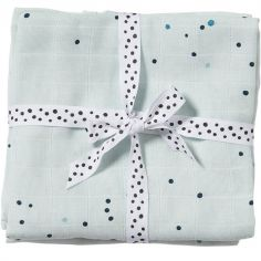 Lot de 2 maxi langes Dreamy dots bleu (120 x 120 cm)