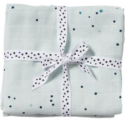 Lot de 2 maxi langes Dreamy dots bleu (120 x 120 cm)  par Done by Deer