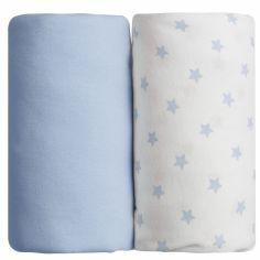 Lot de 2 draps housses étoile bleu (60 x 120 cm)