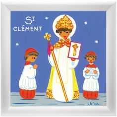 Tableau religieux St Clément Saint Patron personnalisable (15 x 15 cm)