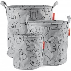 Lot de 3 sacs à jouets Contour gris