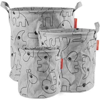 Lot de 3 sacs à jouets Contour gris  par Done by Deer