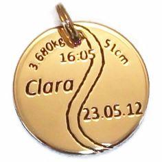 Médaille de naissance balle de tennis (plaqué or jaune)
