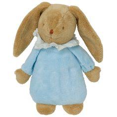 Lapin musical dodo pyjama bleu et pochette de rangement en coton (28 cm)
