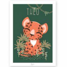 Affiche A4 Les Animignons le léopard (personnalisable)  par Kanzilue