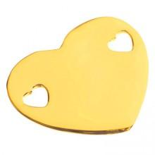 Bracelet empreinte coeur 2 trous coeur sur cordon (or jaune 750°)   par Les Empreintes