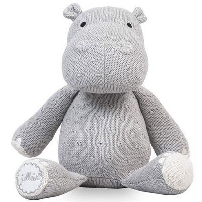 peluche hippopotame tricot gris 26 cm par jollein. Black Bedroom Furniture Sets. Home Design Ideas