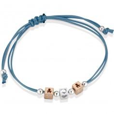 Bracelet cordon turquoise 2 cubes garçon 1 cube coeur (or rose 375° et argent 925°)