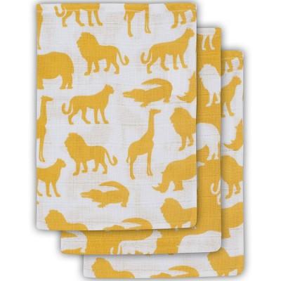 Lot de 3 gants de toilette Safari jaune  par Jollein