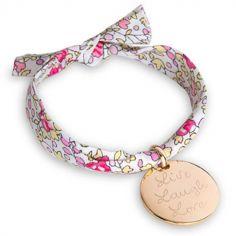 Bracelet maman Liberty avec médaille personnalisable (plaqué or)