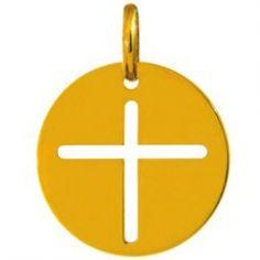 Médaille ronde croix 16 mm ajourée (or jaune 750°)