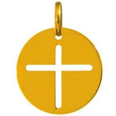 Médaille ronde croix 16 mm ajourée (or jaune 750°)  par A.Augis