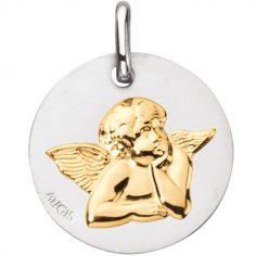 Médaille Ange Raphaël 16 mm (or blanc 750° et motif or jaune 750°)