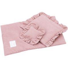 Parure de lit pour poupée rose blush (42 x 28 cm)