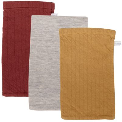 Lot de 3 gants de toilette Pure indian red, ochre et Grey