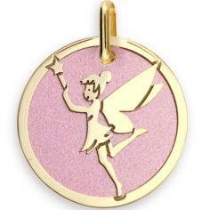 Médaille Fée personnalisable (acier rose et or jaune 375°)