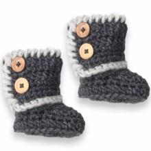 Chaussons Célestine tricotés main gris (3-12 mois)  par Mamy Factory