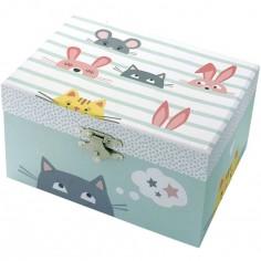 Boîte à bijoux musicale phosphorescente chat