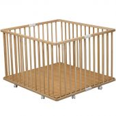 Parc bébé pliable à plancher Gaby en bois massif (92 x 98 cm) - Combelle