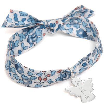 Bracelet maman Liberty avec ange personnalisable (argent 925°)  par Merci Maman