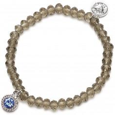 Bracelet Charm perles champagne charm bleu