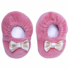 Chaussons en velours Ananas corail (0-6 mois)
