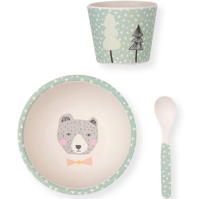 Coffret repas bébé en bambou ours (3 pièces) Love Maé