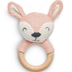 Hochet anneau de dentition biche en tricot rose pâle