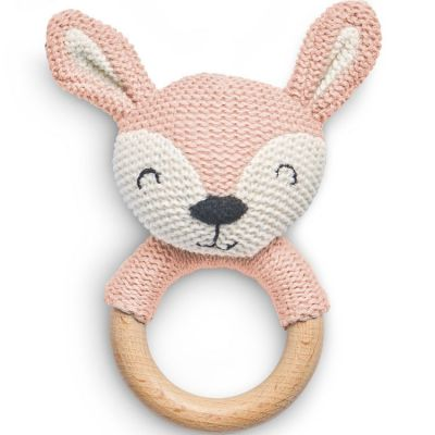 Hochet anneau de dentition biche en tricot rose pâle  par Jollein