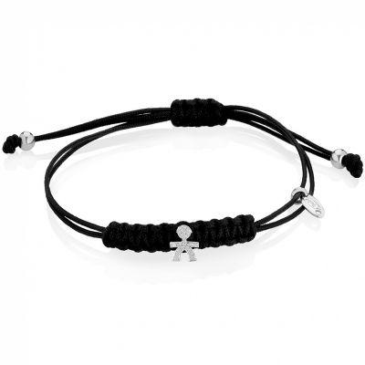 Bracelet cordon noir Briciole garçon (or blanc 750° et pavé de diamants)  par leBebé