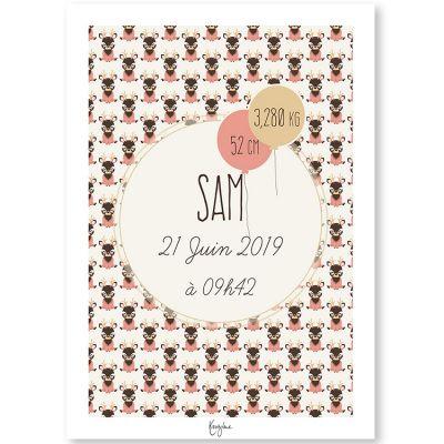 Affiche de naissance A4 Les Animignons Cerf (personnalisable)  par Kanzilue