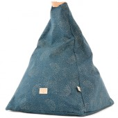 Pouf Keops frome triangle Gold bubble Night blue - Nobodinoz