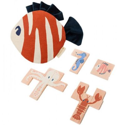 Lot de 4 puzzles en bois Animaux marins (4 à 10 pièces)  par Nobodinoz