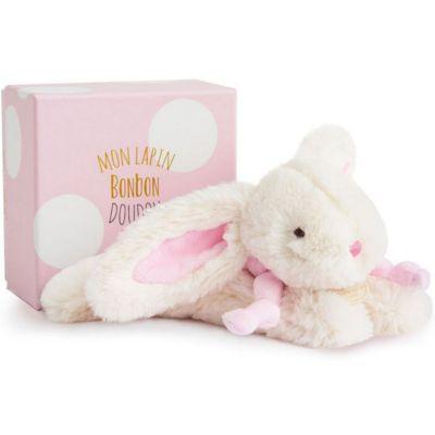 Coffret peluche lapin bonbon rose (20 cm)  par Doudou et Compagnie