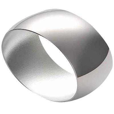 Rond de serviette Lien Concave personnalisable (métal argenté)  par Daniel Crégut
