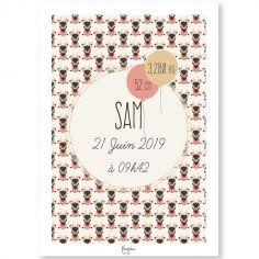 Affiche de naissance A3 Les Animignons Cerf (personnalisable)