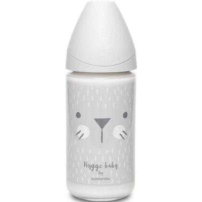 Biberon en verre Hygge Baby moustaches lapin gris (240 ml)  par Suavinex