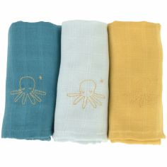 Lot de 3 langes en coton bio Octopuce (60 x 60 cm)