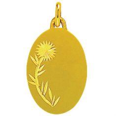 Médaille ovale unie à graver fleur 18 mm (or jaune 750°)