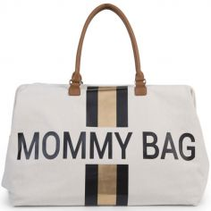 Sac à langer à anses Mommy bag doré, noir et écru