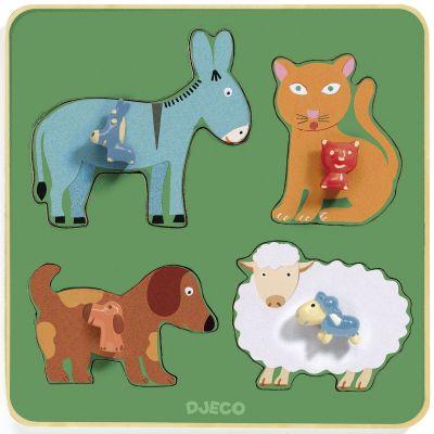 Puzzle à encastrement Family Farm (4 pièces) Djeco