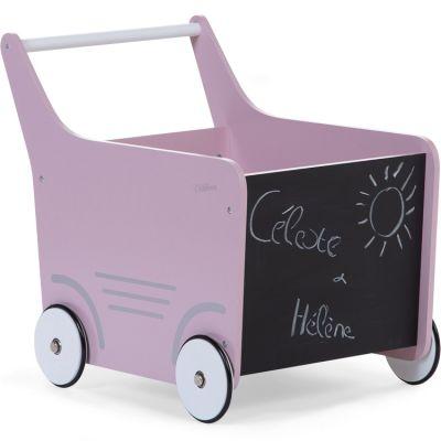 Chariot de marche en bois rose clair  par Childhome