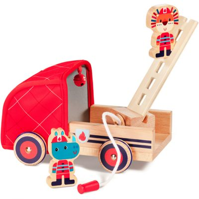 Camion de pompier et figurines en bois  par Lilliputiens