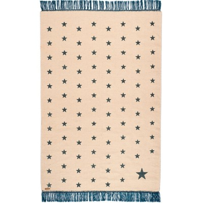 tapis rectangulaire pop toiles beige et bleu canard 100. Black Bedroom Furniture Sets. Home Design Ideas