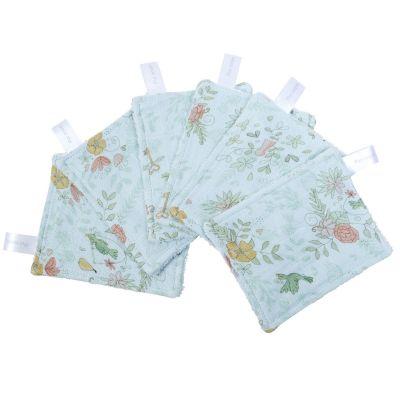 Lot de 6 lingettes lavables Paradis (8 x 11 cm) Little Crevette