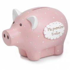 Tirelire Ma première tirelire cochon rose à pois (8 x 12 cm)