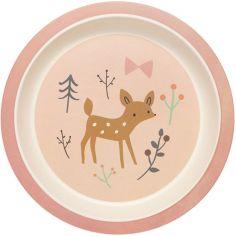 Assiette plate en bambou Faon rose