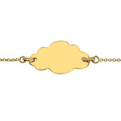 Gourmette bébé plaque Nuage (or jaune 750°)  par Berceau magique bijoux