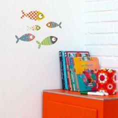 Stickers petits poissons multicolores