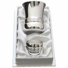 Coffret timbale et rond de serviette Filets personnalisable (métal argenté)